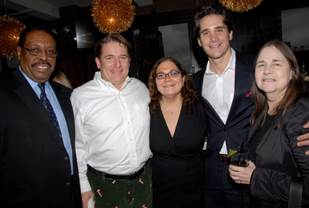Photo B- (Top Right, from L:) HD Radio's Roy Sampson, ESPN's Tim McCarthy, Hill Holiday's Lisa Kleinman, NYMRAD's Chair and iHeartmedia (formerly Clear Channel)'s Joe Puglise and Corinthian's Tina Snitzer.