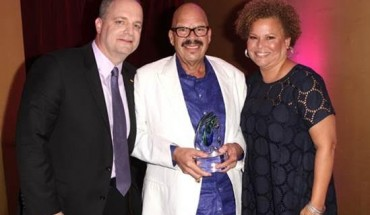 L-R) SVP, Chief Marketing Officer at Denny's Corporation, John Dillon, radio personality and honoree Tom Joyner and BET Networks Chairman & CEO Debra L. Lee attend the BET 2015 Community Impact Awards presented by Denny's
