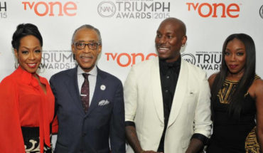 Triumph Awards host Tichina Arnold, NAN founder Rev. Al Sharpton, Triumph Awards honoree Tyrese Gibson and show performer Estelle attend the taping of the 2015 Triumph Awards in Atlanta at 200 Peachtree