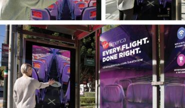 "A bus shelter in San Francisco featuring the new Virgin America Google ""Seat View"" advertising campaign (PRNewsFoto/Virgin America)"